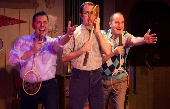 Performing with Ryan Lynch, center, actor Brian Baez, left, helped his partner of nearly 10 years, Jason Campbell, right, when he suffered a stroke onstage last week.
