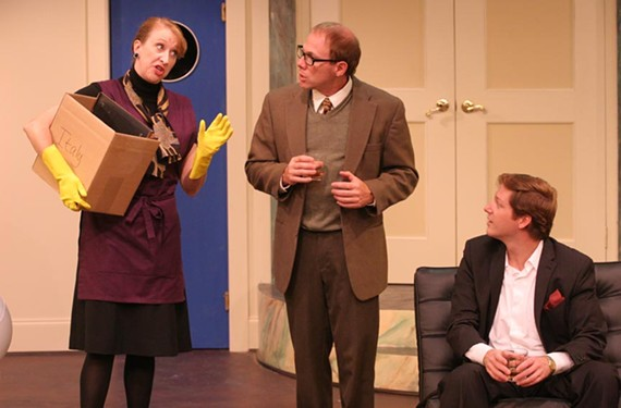 "Permission to land: Susan Sanford, Derek Phipps and Denis Riva discover that flying on the ground is wrong in Barksdale's choppy production of ""Boeing-Boeing."" - JAY PAUL"