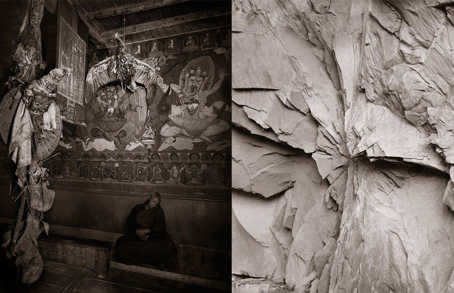 "Photographer Linda Connor, a professor at the San Francisco Art Institute, explores the mysteries of life, death and the universe through different belief systems and the natural world. At left is ""Dosing Monk and Black-Necked Craine, Phiyang Monastery, Ladakh, India"" (2003), and ""#090, 2013,"" is from the Himalayas series."
