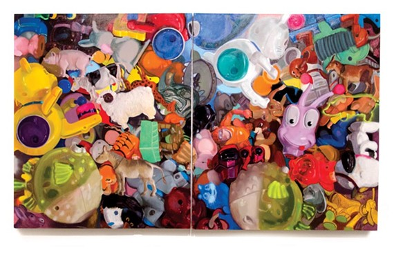 "Pictured here is ""Animals 2"" (2010). University of Virginia painting professor Megan Marlatt often paints toys from children's fast food meals salvaged at thrift stores. ""I found the toys culturally loaded, emotionally edgy and uncomfortable in their plastic material,"" she says on her website."