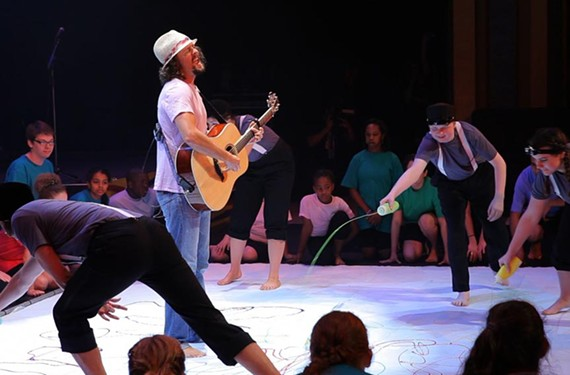 Pop singer Jason Mraz, a Mechanicsville native, sings with SPARC students at last year's concert. The celebrity-filled show highlights SPARC's Live Art program, which integrates a performing arts curriculum with special education.