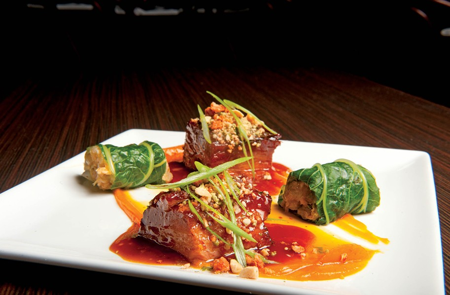 Pork belly smoked in bourbon barrels from Hardywood Park is served with puréed butternut squash rolled in bok choy with kimchi, a treat at Heritage in the Fan. - SCOTT ELMQUIST
