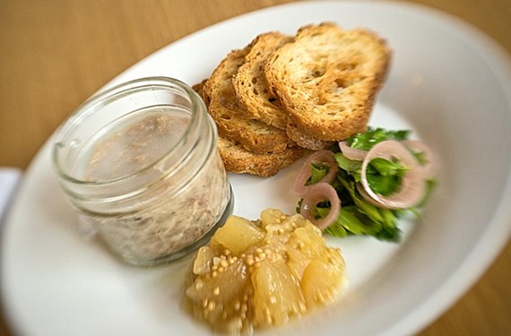 Pork rillettes are served with quince mustard, parsley and toast at Pasture, the new small-plates restaurant with a serious buzz factor downtown. - ASH DANIEL