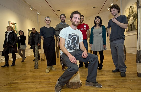 """Preferring to stay out of the spotlight, exhibit coordinator and booker Nick Crider says it's a team effort at Gallery5. Volunteers, artists and guests came together at the opening of """"Hard Copies"""" on Friday."""