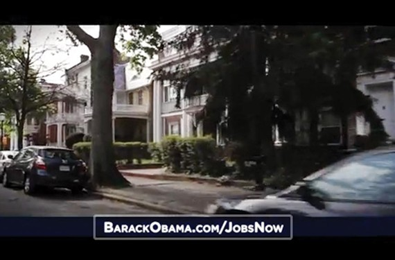 """President Barack Obama says the wealthiest Americans on Monument Avenue, as seen in the president's campaign ad, """"Jobs,"""" aren't paying enough in taxes."""