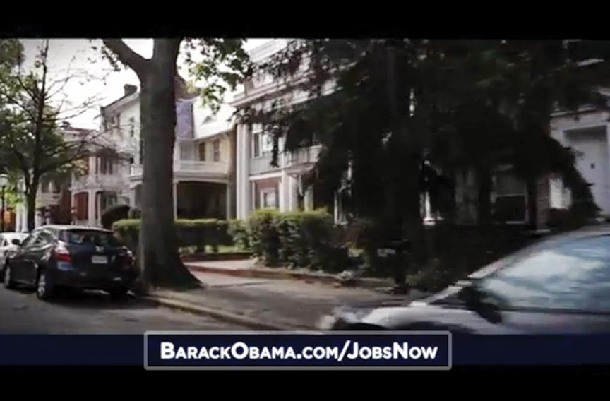 "President Barack Obama says the wealthiest Americans on Monument Avenue, as seen in the president's campaign ad, ""Jobs,"" aren't paying enough in taxes."
