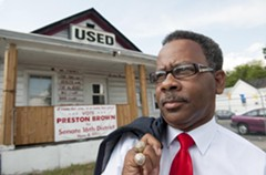 Preston Brown's used-car business at 32nd and Hull streets finances cars for people who don't otherwise have the means. It's also where he organizes his campaign. - SCOTT ELMQUIST