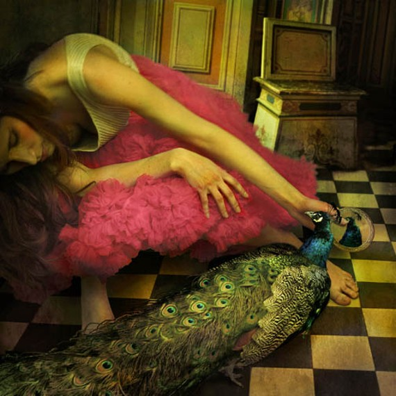 """""""Pretty as Me"""" a photomontage by Tom Chambers made this year, is one of many accomplished works by 12 veteran artists on display at the downtown Richmond Public Library."""