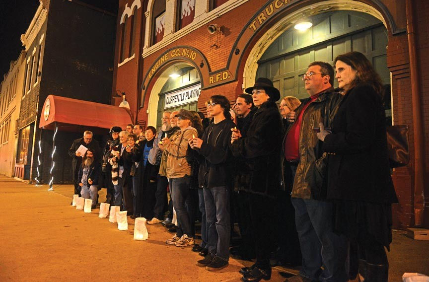 Protesters gather outside of the Firehouse in support of ousted artistic director Carol Piersol. - SCOTT ELMQUIST