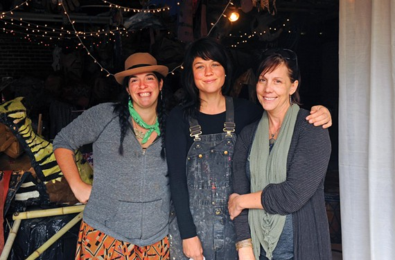 Puppeteer Lily Lamberta, sculptor Julie Elkins and Trepanier are the three friends who joined forces to create Lovebomb. - SCOTT ELMQUIST