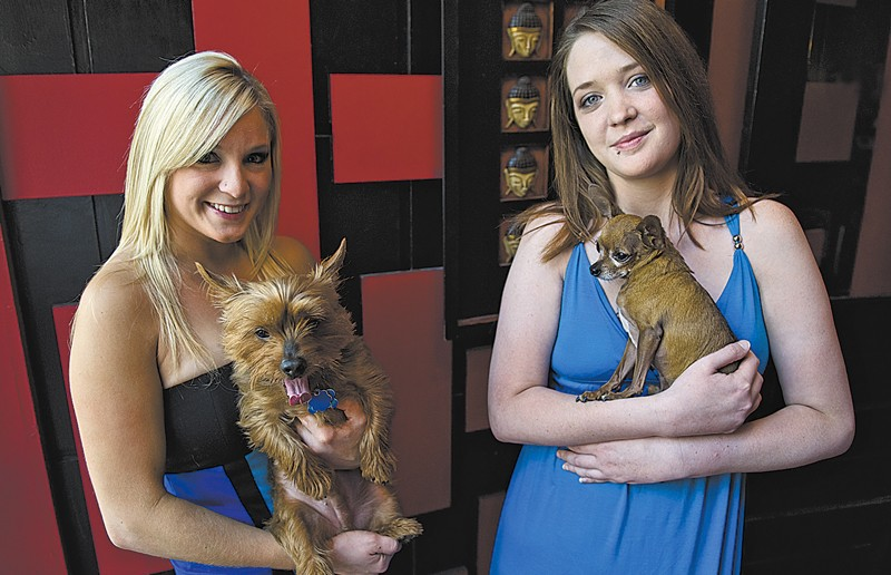 Puppy Power: Bartenders Camille Kosten and Megan Stimpson hope to raise money for the Richmond Animal League.