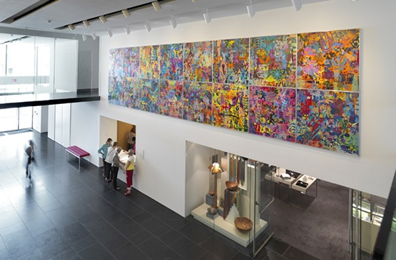 "Raised in Virginia Beach, artist Ryan McGinness created ""Art History Is Not Linear,"" a 2009 painting that contains 16 panels of icons inspired by the VMFA's collections."