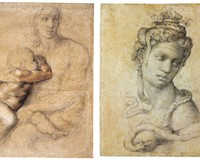"""Rare drawings by the great Michelangelo come to Williamsburg's Muscarelle Museum through mid-April. Pictured here: (Left) """"Madonna and Child"""" (circa 1525) and """"Cleopatra"""" (1532-33) featuring the Egyptian queen in full-on Medusa mode."""
