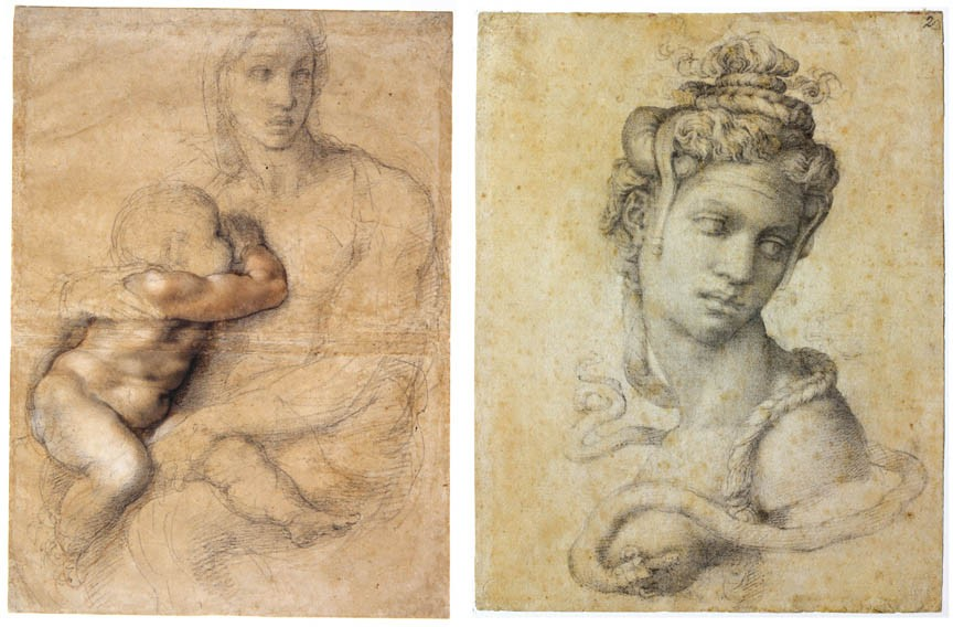 "Rare drawings by the great Michelangelo come to Williamsburg's Muscarelle Museum through mid-April. Pictured here: (Left) ""Madonna and Child"" (circa 1525) and ""Cleopatra"" (1532-33) featuring the Egyptian queen in full-on Medusa mode."