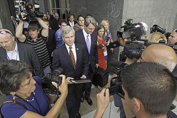 Reporters surround Bob McDonnell as he enters the Richmond Federal Courthouse.