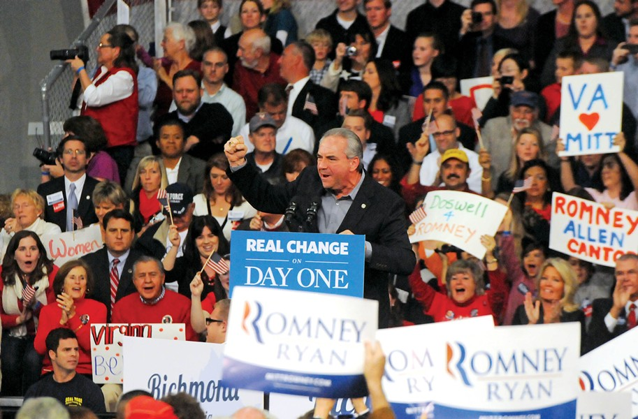 Republican Lt. Gov. Bill Bolling, at a rally for Mitt Romney in Caroline County in early November, has shelved his gubernatorial ambitions. But what does it mean for the Democrats? - SCOTT ELMQUIST