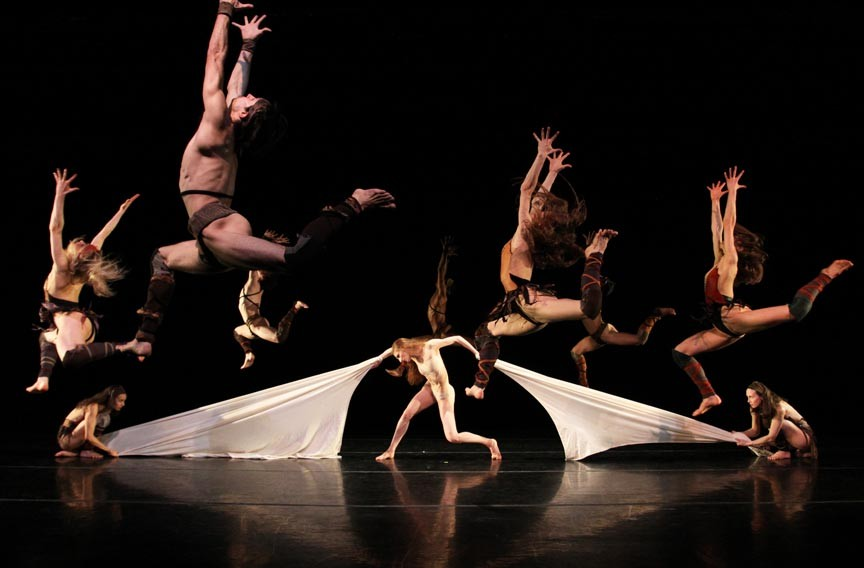 """Richmond Ballet dancer Lauren Fagone, center, as the Chosen One in Salvatore Aiello's """"The Rite of Spring."""" The company advises patrons that this production contains mature subject matter not recommended for young audiences. - SARAH FERGUSON"""
