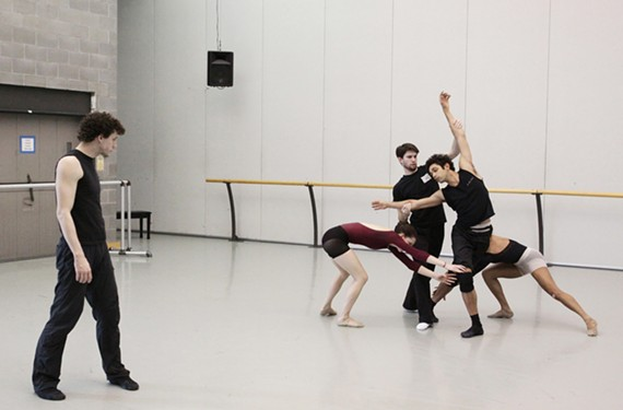 """Richmond Ballet dancer Matthew Frain works with fellow company members on his ballet """"Inventory"""" for the New Works Festival."""