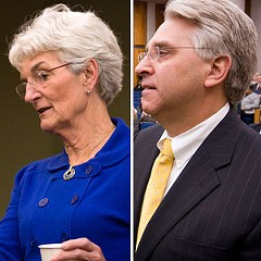 Richmond City Council President Kathy Graziano (left) and Councilman Bruce Tyler (right).