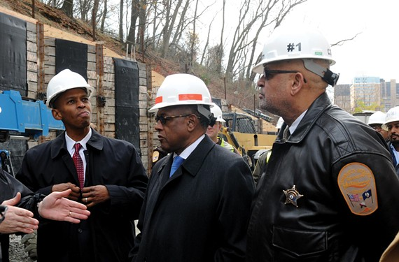 Richmond Commonwealth's Attorney Michael Herring, Mayor Dwight C. Jones and Sheriff C.T. Woody tour the city jail construction site last December.