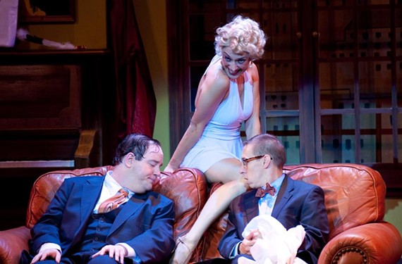 "Richmond favorites Jason Marks (left) and Scott Wichmann get a leg up fom Rachel Abrams as Ulla in Virginia Repertory Theatre's ""The Producers."" - AARON SUTTEN"