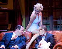"""Richmond favorites Jason Marks (left) and Scott Wichmann get a leg up fom Rachel Abrams as Ulla in Virginia Repertory Theatre's """"The Producers."""""""