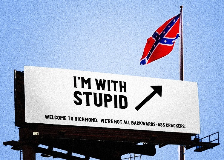 Richmond graphic designer Doug Dobey mocked up this hypothetical response to news that a local group plans to install a 15-foot Confederate flag on Interstate 95 south of the city.