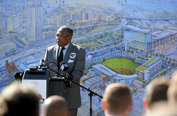 Richmond Mayor Dwight Jones publicly unveiled his proposal to locate a ballpark in Shockoe Bottom on Nov. 11.