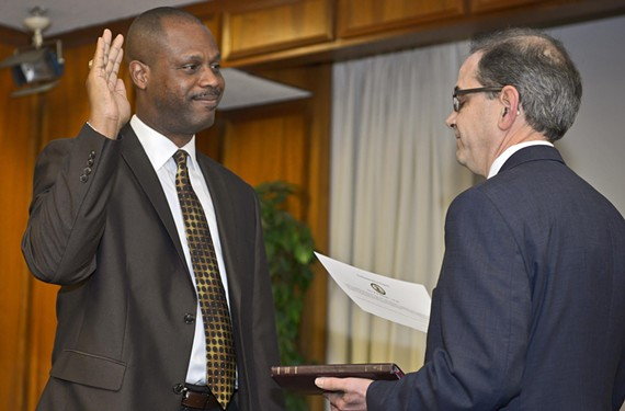 Richmond School Superintendent Dana Bedden is sworn into office at City Hall on Jan. 13. - ASH DANIEL