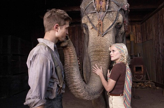 "Robert Pattinson and Reese Witherspoon have the circus join them in ""Water for Elephants."" - DAVID JAMES"