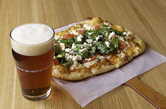 Rock Bottom Restaurant & Brewery's roasted vegetable pizza with a pint of Short Pump Steamer, brewed on site.