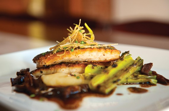 Rockfish with mushrooms and leeks is memorable at the Museum District's new Belmont Food Shop. - SCOTT ELMQUIST