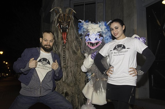 RVA Krampusnacht co-founders Parker Galore and Nicole Pisaniello stand with a couple of Krampus wild things ready to take over Carytown on Dec. 6, then drink some beer.