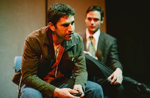 Ryan Bechard (left) plays Joseph and Evan Nasteff is Timothy, gay men who find solace in each other's company in Cadence Theater's intelligent new play. - JASON COLLINS PHOTOGRAPHY