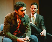 Ryan Bechard (left) plays Joseph and Evan Nasteff is Timothy, gay men who find solace in each other's company in Cadence Theater's intelligent new play.