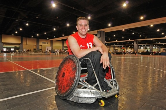 Ryan Lindstrom in his specially designed wheelchair at the Greater Richmond Convention Center. - BY SCOTT ELMQUIST