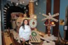 Sara Ayyash says it wasn't easy decorating Santa's steam engine at the Jefferson Hotel, but the results are a hit with visitors. Master carpenter Steve Corwin built the framework.