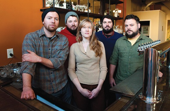 Sara Kerfoot is flanked by Jay Bayer, Adam Hall, Chris Elford and Patrick Moran at Saison.