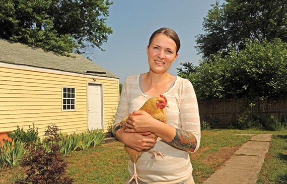 Sarah Sinclair says Clementine and her urban flock produce a half-dozen eggs a day.