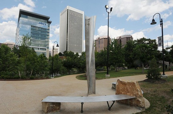 "Sculptor Bradley Robinson's ""The Mill"" animates a small piazza and relates to the downtown skyline. - SCOTT ELMQUIST"