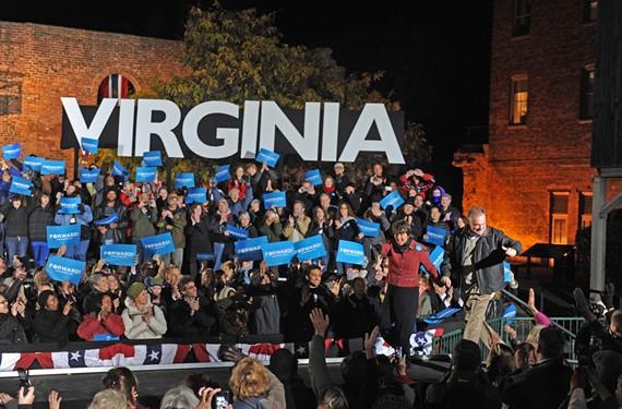 Senate candidate Tim Kaine stumps for the Obama presidential  ticket at Tredegar last week. Both won. - SCOTT ELMQUIST