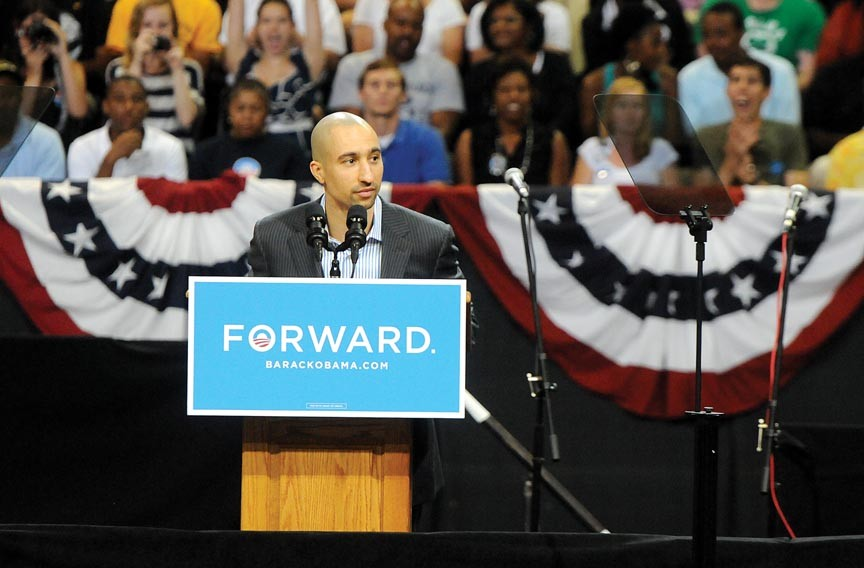 "Shaka Smart emcees President Obama's rally at the Siegel Center. He did so as a ""private citizen,"" the university says, not as coach of the VCU men's basketball team. - SCOTT ELMQUIST"