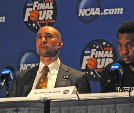 Shaka Smart talks to media at a post-game conference. - SCOTT ELMQUIST