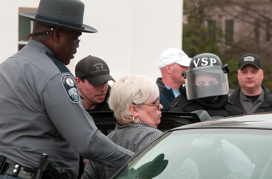 Shelley Abrams, executive director of A Capital Women's Health Clinic in Henrico County, was taken into custody during a protest at the Capitol on March 3. - SCOTT ELMQUIST