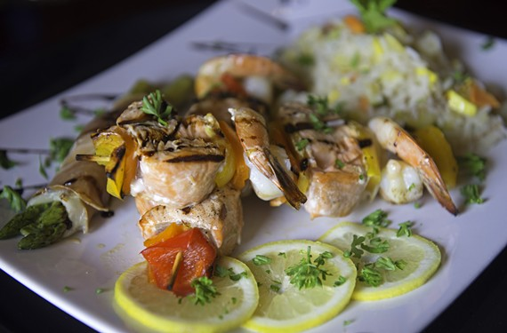 Shrimp and salmon skewers are a bright spot at Pesce & Vino in Henrico near Douglas Freeman High School.