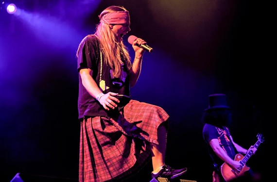 Singer Chad Atkins has the whole Axl Rose thing down in the tribute band, Appetite for Destruction. Come hear all the famous Guns N' Roses tunes without the famous flaking at the National. - VICKI DI ADDEZIO