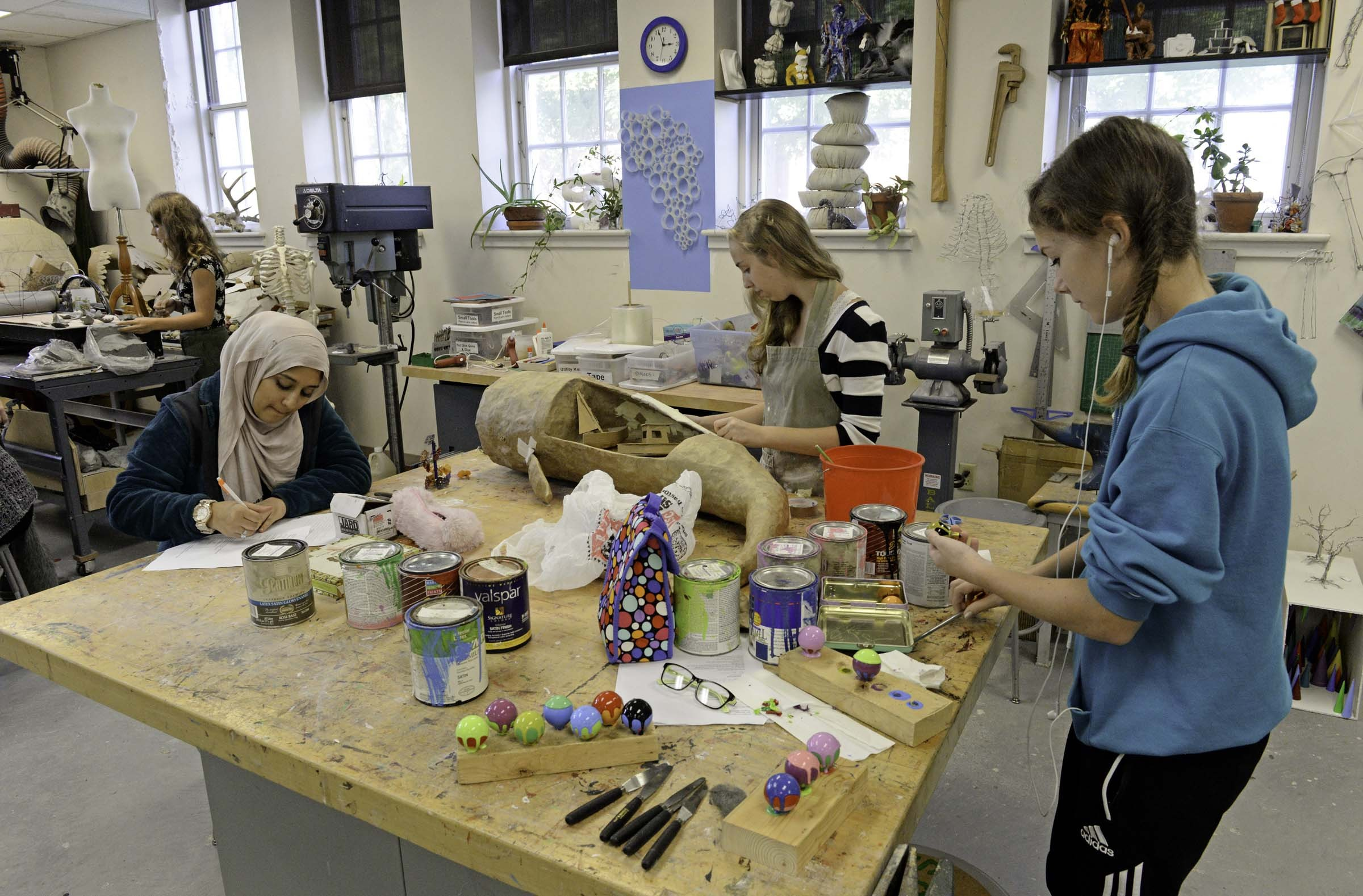 Sizza Sarooq, Cassie Williamson and Skye Shannon in class at the Governor's School. - SCOTT ELMQUIST