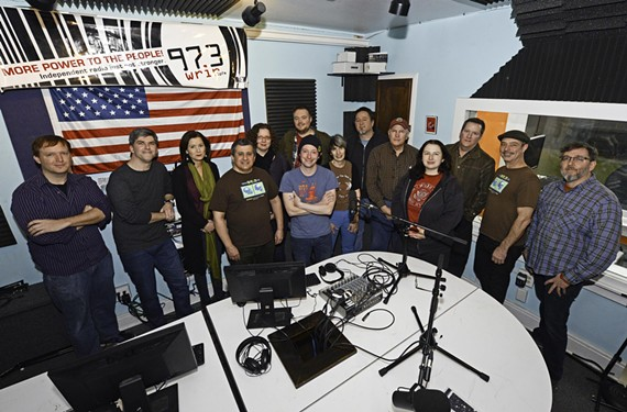 Some of the faces behind the past 10 years of WRIR community radio: Carl Hamm, Michael Murphy, Liz Humes, Bill Lupoletti, Melissa Harl, Shannon Cleary, Dustin Richardson, Ceci Hull, Phil Ford, Judd Proctor, Janet Lundy, Brian Burns, James Hickman and Michael Harl.