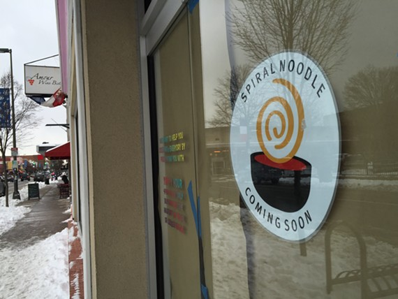Spiral Noodle will open in March in the old Carytown Yapple spot.