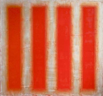 "Staunton artist Robert Stuart's ""Desert Sun,"" oil in wax on canvas, shows at Reynolds Gallery."